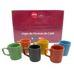 JOGO DE XÍCARAS DE CAFÉ COLORIDO 80ML REF:D0CA54