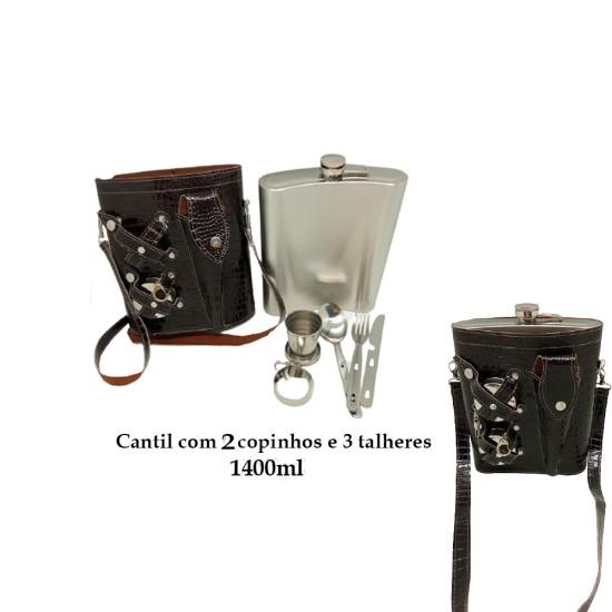 CANTIL 1400ML COM 2 COPOS E 3 TALHERES + BOLSA Marrom Escuro REF: APPT-48A