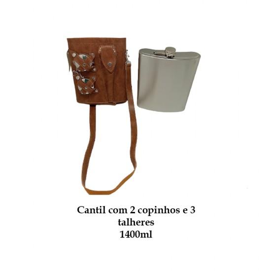 CANTIL 1400ML COM 2 COPOS E 3 TALHERES + BOLSA MARROM CLARO REF: APPT-48A