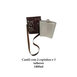 CANTIL 1400ML COM 2 COPOS E 3 TALHERES + BOLSA Marrom Liso REF: APPT-48A