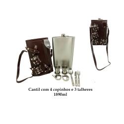 CANTIL 1890ML COM 4 COPOS E 3 TALHERES + BOLSA MARROM ESCURO LISO REF: APPT-64A