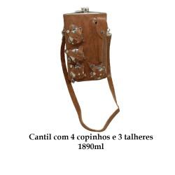 CANTIL 1890ML COM 4 COPOS E 3 TALHERES + BOLSA MARROM CLARO REF: APPT-64A