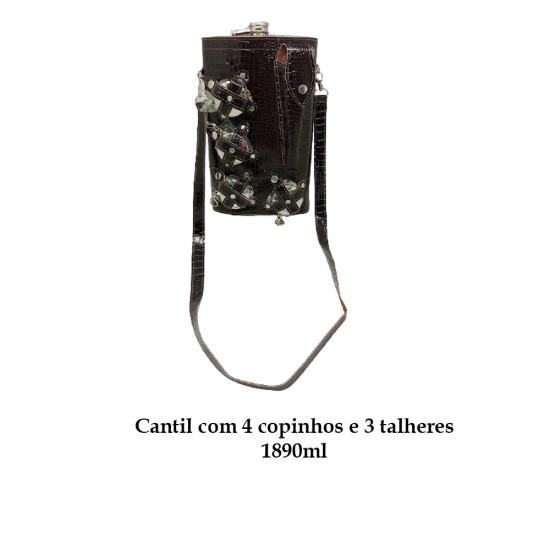 CANTIL 1890ML COM 4 COPOS E 3 TALHERES + BOLSA MARROM ESCURO REF: APPT-64A