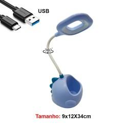 LUM.DEC.LAMP.LED. USA CABO USB MOD.DINOSSAU COR: AZUL